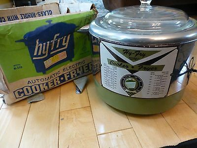 Hy Fry Automatic Electric Cooker Deep Fryer New Vintage Unused Avocado Green