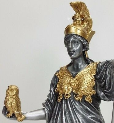 ATHENA GODDESS OF WISDOM W OWL GREEK MYTHOLOGY Sculpture Pewter Gold Finish