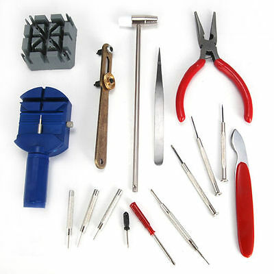 16 Pcs Watchmaker Watch Repair Tool Kit Set Back Case Opener Remover Spring Pin