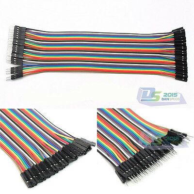 40Pc 20cm 1P-1P Male to Female Breadboard Bread Board Jumper Wire Ribbon Cable