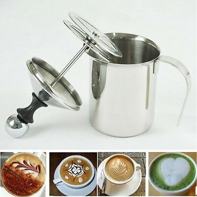 Stainless Steel Pump Milk Frother Cappuccino Frother Double Froth Foamer 400ML
