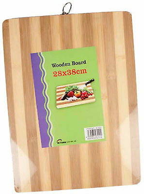 WOODEN BAMBOO CHOPPING CUTTING SOLID FOOD SLICING DICING BOARD 28cm X 38cm LARGE