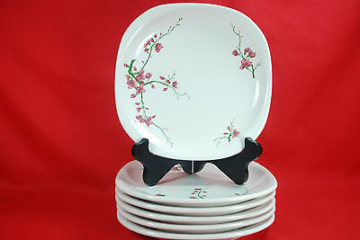 "6 SYRACUSE CHINA BERKELEY 8-1/2"" SQ. LUNCH PLATES Restaurant Ware Cherry Blossom"