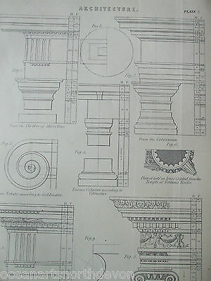 Antique Print Dated C1880's Architecture Temples Colosseum Engraving Rome Greek