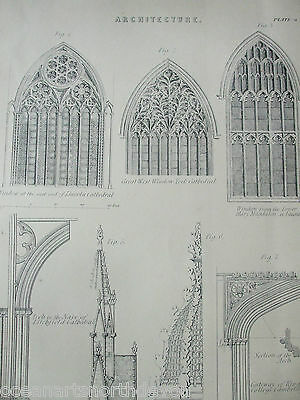 Antique Print Dated C1880's Architecture Engraving West Window York Cathedral