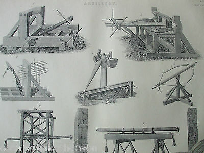 Antique Print Dated C1880's Artillery Engraving Weapons Military Gun War Etching