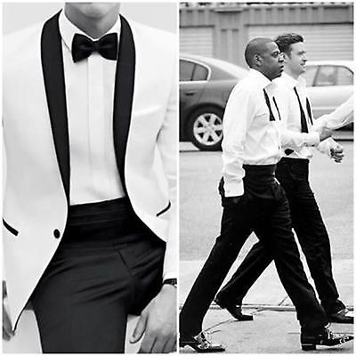 White Groom Tuxedos Shawl Collar Groomsmen Best Man Wedding Suits Jacket pants