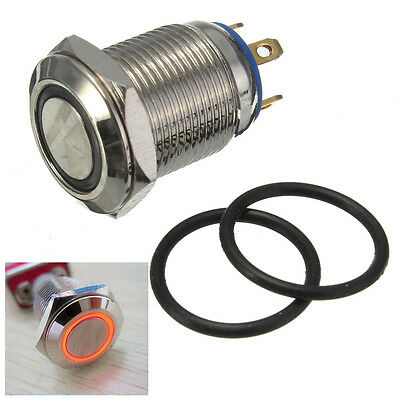 LED Car 12mm Stainless Steel Metal WaterProof Flat Push Button ON/OFF Switch