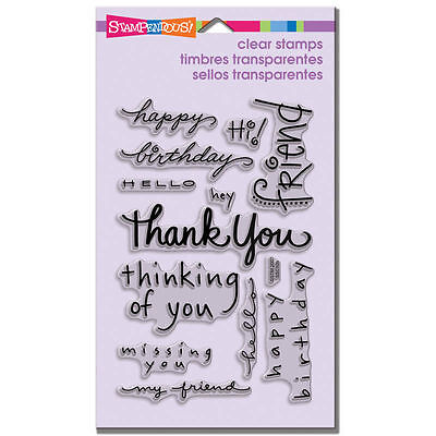 Stampendous Clear stamps  happy messages thanks birthday  sentiments ssc109