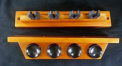 1 Premium Norditalia 4 Pool Cue Wall Rack With Non Marring Gum Rubber Holders
