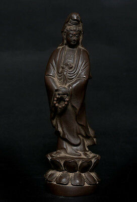OLD CHINESE ROSEWOOD HAND CARVED GUANYIN STANDING STATUE MARKED TA559K