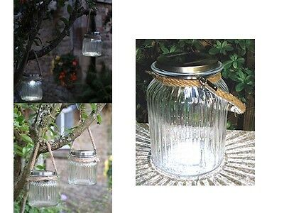 Set Of 2 Jar Rope Solar Led Hanging Glass Outdoor Garden Decoration Bright Light