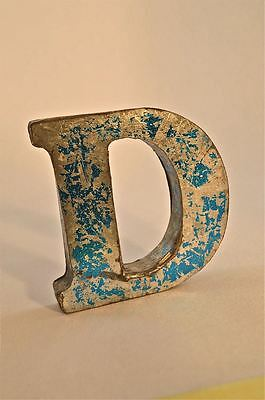 Fantastic Retro Vintage Style Blue 3D Metal Shop Sign Letter D Advertising Font