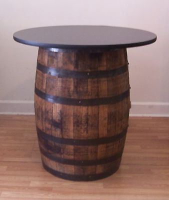 "Whiskey Barrel Table with 36"" Black Table Top-Reversible to Mahogany"