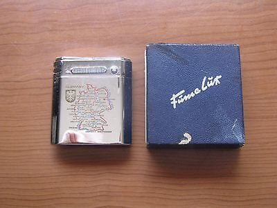 Fuma Lux Vintage Germany Map Cigarette Lighter with Box Not Used?