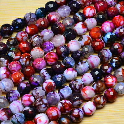 """15"""" MULTI COLOR FIRE DRAGON VEINS AGATE GEMSTONE FACETED ROUND BEADS STRAND 6MM"""