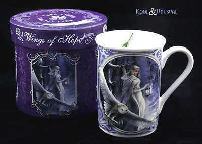 "Anne Stokes Bone China Mug Cup: ""Midnight Messenger"" Snow Witch with Owl"