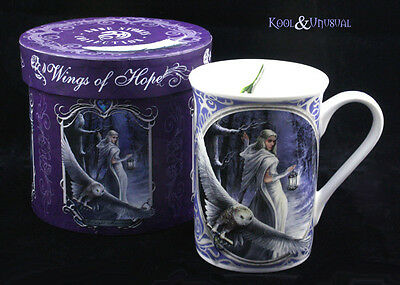 """Anne Stokes Bone China Mug Cup: """"Midnight Messenger"""" Snow Witch with Owl"""