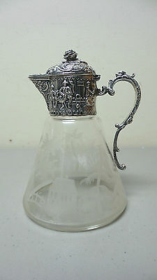 Antique Etched Crystal Syrup Pitcher, Continental/dutch Sterling Silver Mount