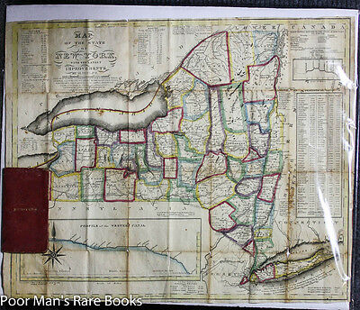 "ANTIQUE COLOR FOLDING MAP OF NEW YORK STATE C1831 20.5"" X 16.5"" Counties"