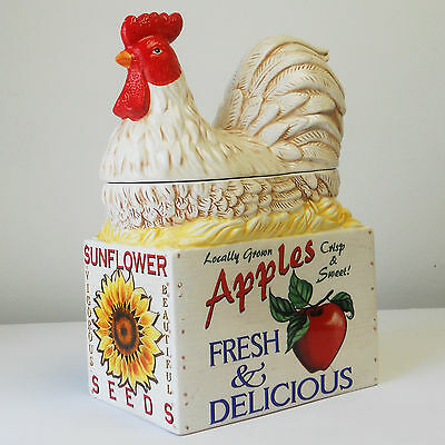 Ceramic Cookie Jar Heartfelt Kitchen Creations Young's Hen Seated on Apple Box