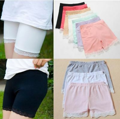 Kids Girl Cotton Bermuda Safety Shorts Pant Lace Dance Under Dress Skirt 3-8Y