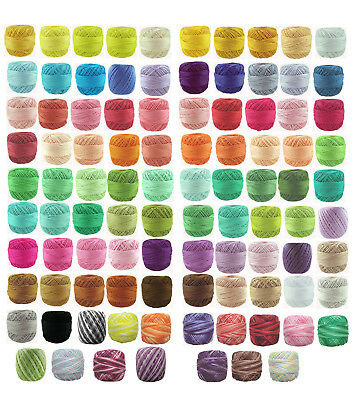 2 x 40m RUBI Crochet Cotton Embroidery Thread Perle #8 Solid & Variegated