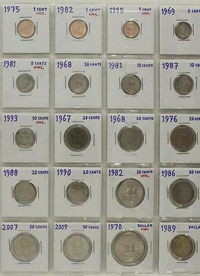 Vintage Mixed Date Variety Foreign Coins 20PC Singapore 1967-2009 Cents Dollars