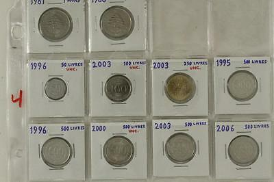 Vintage Mixed Date Variety Foreign Coins 10PC LOT Liban Lebanon Pound Livres
