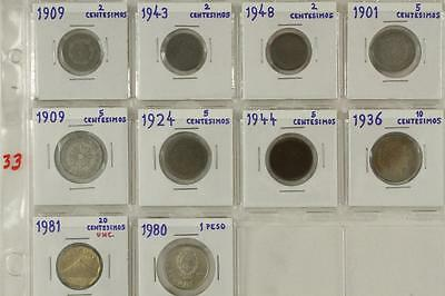 Vintage Mixed Date Foreign Coins 10 PC LOT URUGUAY 1909-1980