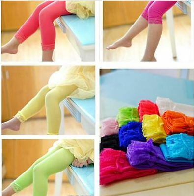 Kids Girls Microfiber Stretch Tight Leggings Lace Capri Pants Candy Color 1-6Yr
