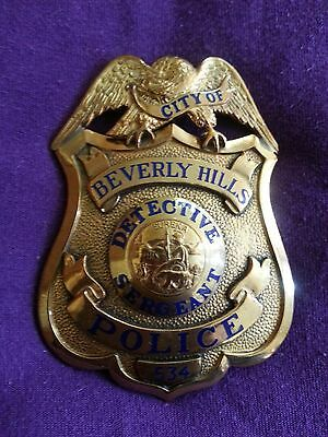 ANTIQUE & OBSOLETE City of BEVERLY HILLS Detective Sergeant POLICE BADGE RARE