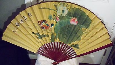 Vtg Chinese Art Hand Painted Silk on Paper Fan Wall Hanging Waterbirds & Lotus