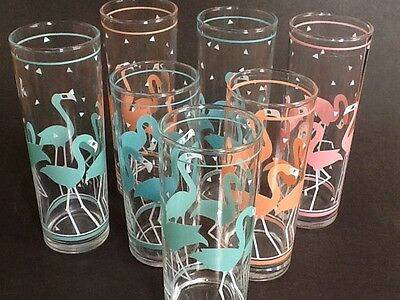 7 FLAMINGO Bird Glasses Turquoise Aqua Blue Pink Peach Drink Vintage Mint 6 & 7""