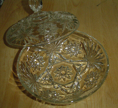 """EAPC Anchor Hocking Star of David 7"""" Large Candy Dish w/ Lid"""