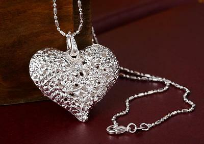 Hot 925 Sterling Silver Big Tracery Heart Pendant For Necklace