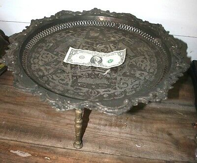 Antique MOROCCAN? SILVER Islamic Qajar Persian?  Engraved Tray Table STAND