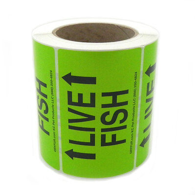 LIVE FISH shipping labels with Arrows ROLL 500 Neon Green