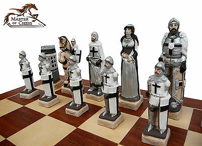 """EXCLUSIVE """"GRUNWALD"""" MARBLE CHESS SET 60 x 60 cm - BEAUTIFUL HAND PAINTED PIECES"""
