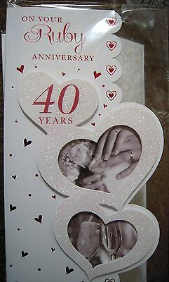 40Th Ruby Wedding Anniversary Card Anniversary Card 40 Years Married
