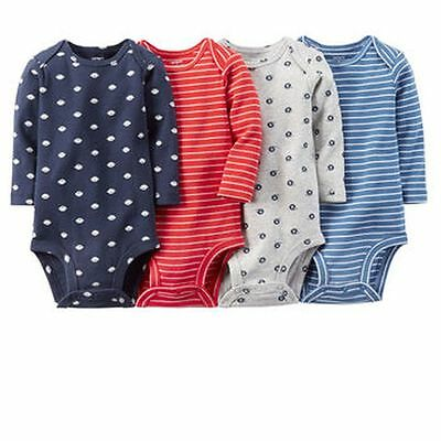 New Carter's 4 Pack Long Sleeve Football Bodysuits NWT Size NB 3 6 9 12 18 24