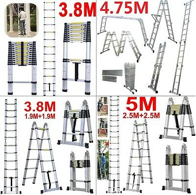 3.8M & 4.4M 5.0M Multi-Purpose Aluminium Telescopic Ladder Extension Extendable