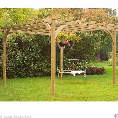 10ft 12ft WOODEN PERGOLA PRESSURE TREATED TIMBER GARDEN ARBOUR WOOD NEW 3m 3.6m