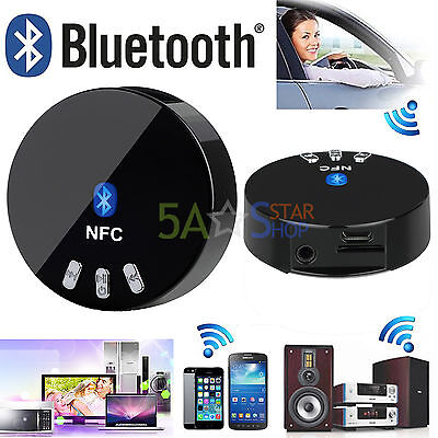 NFC Wireless Bluetooth 4.0 Audio Stereo Music Receiver 3.5mm Car Aux Adapter UK