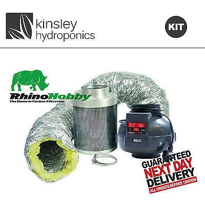 Rhino Fan & Hobby Filter Kit 4 5 6 8 10 + Acoustic Ducting & Clips Hydroponics