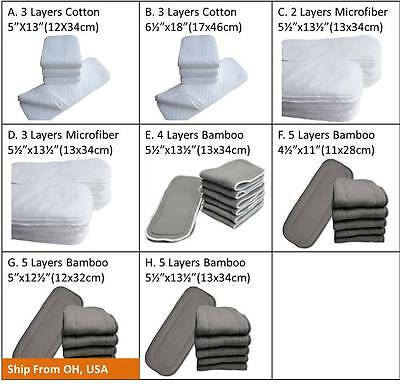 Cotton Microfiber Charcoal Bamboo Baby Diaper Cloth Inserts Nappy Liner Reusable