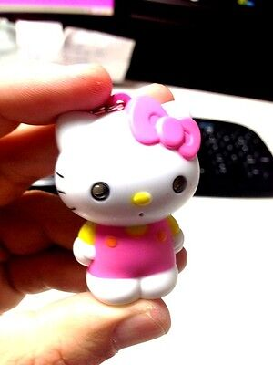 "MODERN RING LIGHT WHITE & PINK  ""HELLO KITTY"" KEYCHAIN  FROM CARTOON AND GAMES"