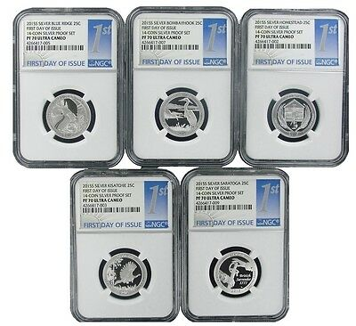 2015 S National Park Silver Quarter Set NGC PF70 Ultra Cameo - 1st Day Issue