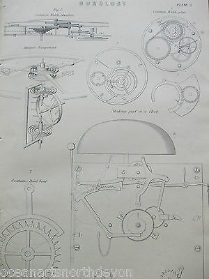 Antique Print C1880's Horology Clock Mechanism Graham's Dead Beat Watch Repair