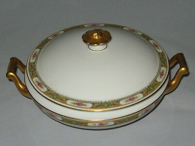 LIMOGES A. LANTERNIER ca 1918 Round Serving Dish w Cover Band Gold, Rose, Green